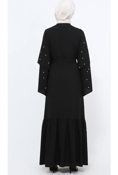 Tavin İncili Volan Detaylı Elbise - Siyah