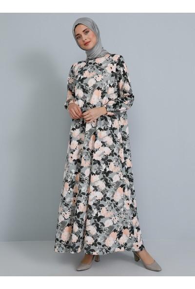 Tavin Desenli Elbise - Gri