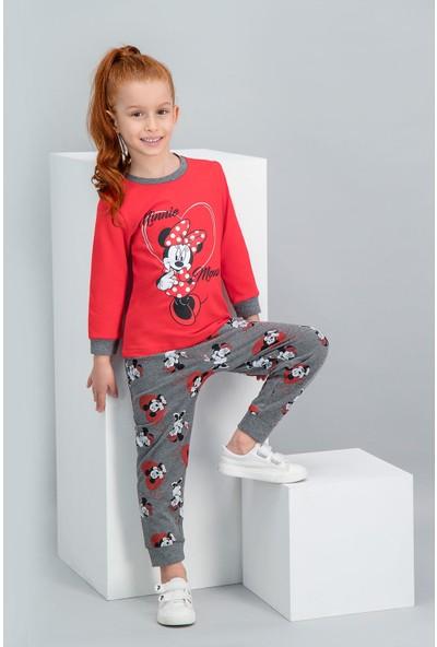 Minnie Mouse Lisanslı Açık Kırmızı Kız Çocuk Pijama Takımı