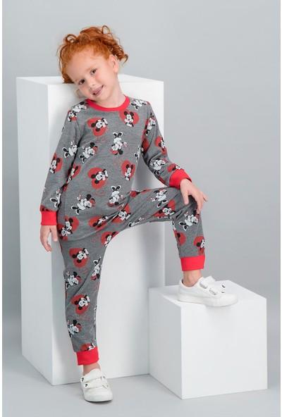 Minnie Mouse Lisanslı Açık Melanj Kız Çocuk Pijama Takımı