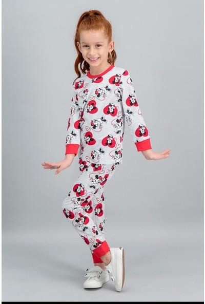 Minnie Mouse Lisanslı Karmelanj Kız Çocuk Pijama Takımı