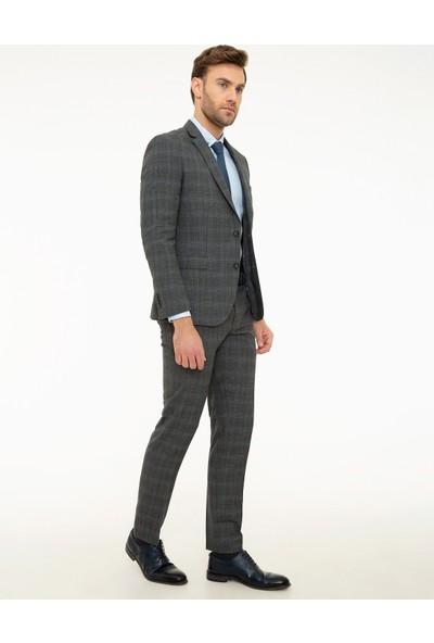Pierre Cardin Ekose Füme Ekstra Slim Fit Takım Elbise 50218414-VR058