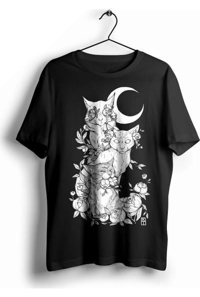 Animepazarı Ay Işığında Kediler Unisex Anime T-shirt