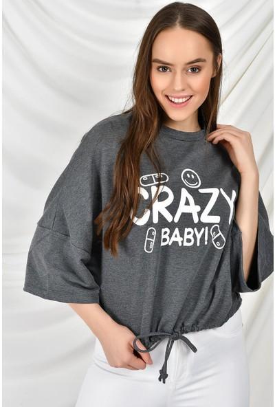 Tena Kadın Antrasit Crazy Baskılı Sweatshirt 9KBSWR07759