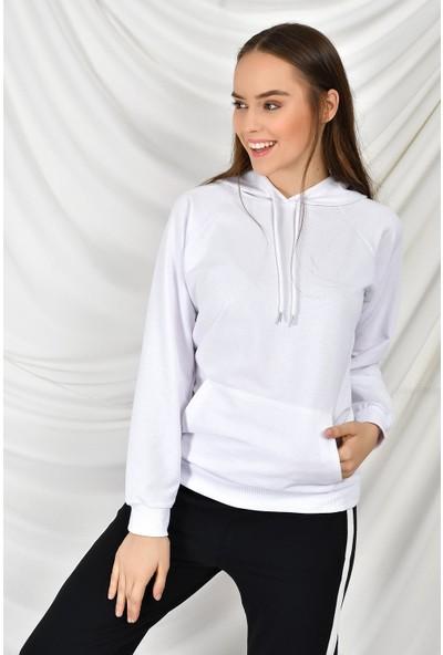 Tena Kadın Beyaz Kapüşonlu Kanguru Cepli Basic Sweatshirt 9KBSW3020-1