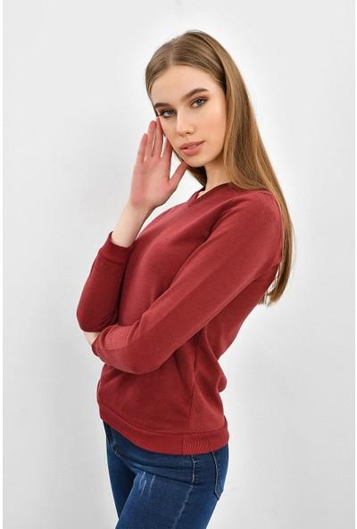 Tena Kadın Bordo Selanik Basic Sweatshirt 9KBSWTN3011