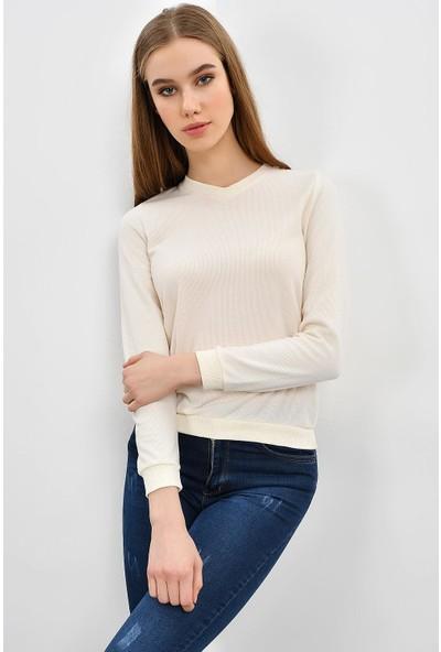 Tena Kadın Ekru Selanik Basic Sweatshirt 9KBSWTN3011