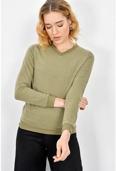 Tena Kadın Haki Selanik Basic Sweatshirt 9KBSWTN3011