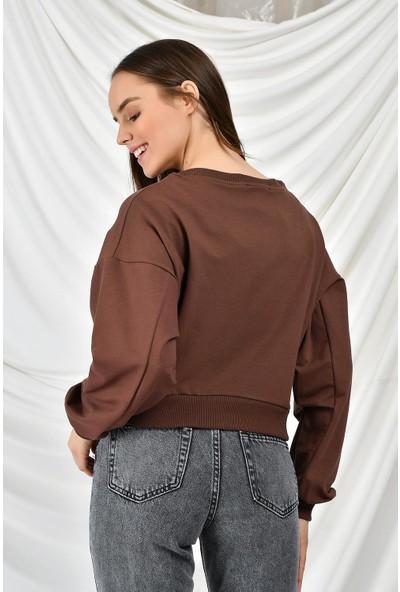 Tena Kadın Kahve Newyork Baskılı Sweatshirt 9KBSWR07765
