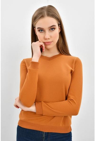 Tena Kadın Kiremit Selanik Basic Sweatshirt 9KBSWTN3011