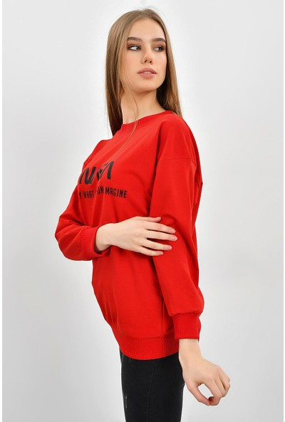 Tena Kadın Kırmızı Nasa Baskılı Sweatshirt 9KBSWWO3018