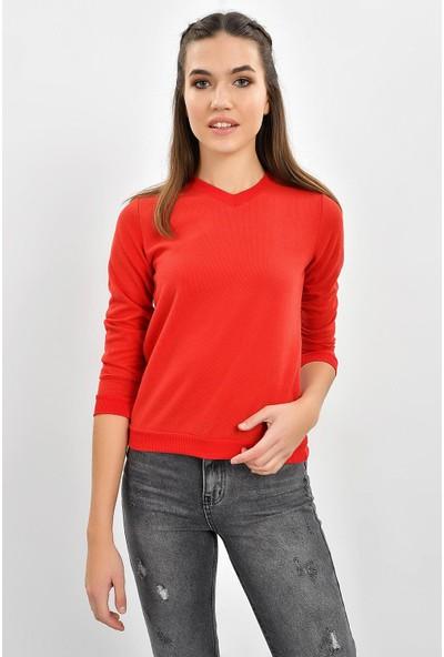 Tena Kadın Kırmızı Selanik Basic Sweatshirt 9KBSWTN3011