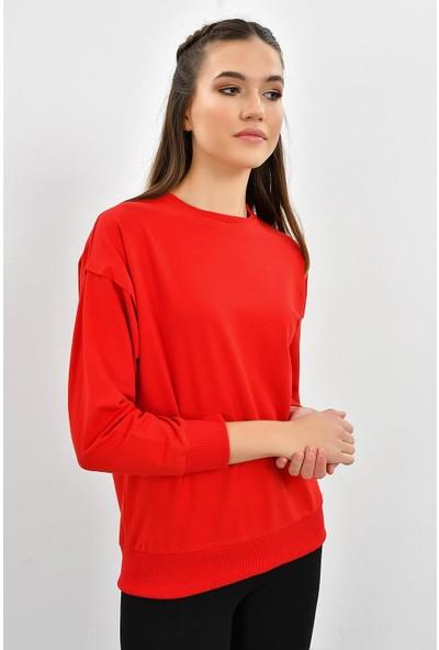 Tena Kadın Kırmızı Sıfır Yaka Basic Sweatshirt 9KBSWWO3012