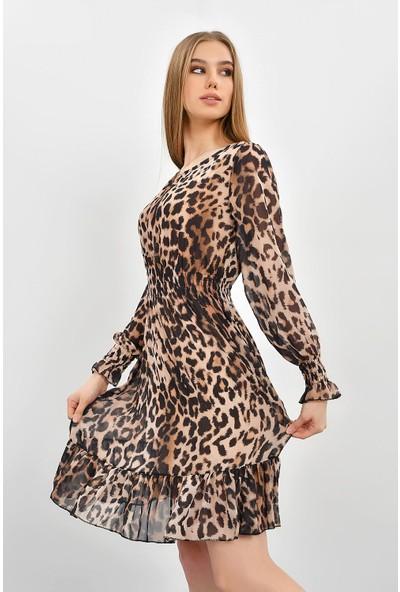 Tena Kadın Leopar Etek Ucu Fırfırlı Elbise 9KBELTF-302