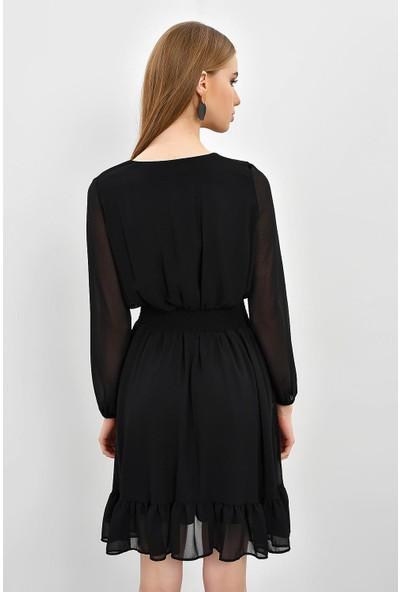 Tena Kadın Siyah Bel Gipeli Elbise 9KBEL191760