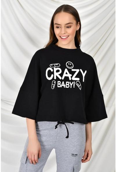 Tena Kadın Siyah Crazy Baskılı Sweatshirt 9KBSWR07759