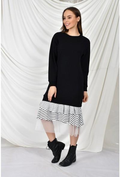 Tena Kadın Siyah Garnili Elbise 9KBELMP2528