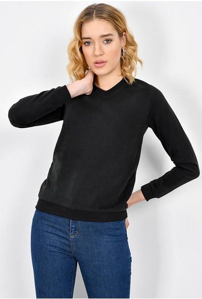 Tena Kadın Siyah Selanik Basic Sweatshirt 9KBSWTN3011
