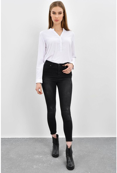 Tena Kadın Taş Siyah Yüksek Bel Dar Paça Pantolon 9KBP13259-1