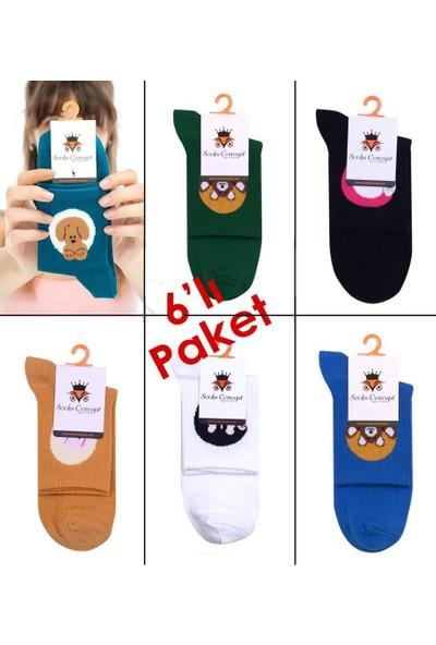 Socks Concept Sevimli Hayvan Karakterli Renkli Desenli Soket Çoraplar 6'lı Ekonomik Paket
