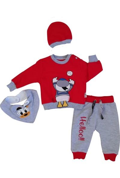 May Mirr Bebek 4'Lü Takım Kırmızı Donald Duck 100%Pamuk