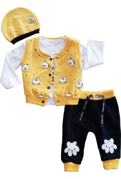 May Mirr Bebek 4'Lü Takım Yelekli Sarı Ayıcık Pati 100%Pamuk