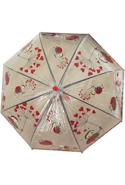 Adalinhome Çocuk Şemsiyesi Kırmızı Uğur Böceği