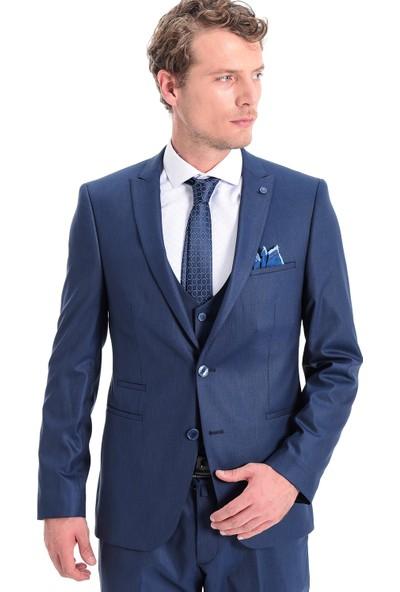 Morven Omaha Slim Fit Yelekli Takım Elbise Mavi