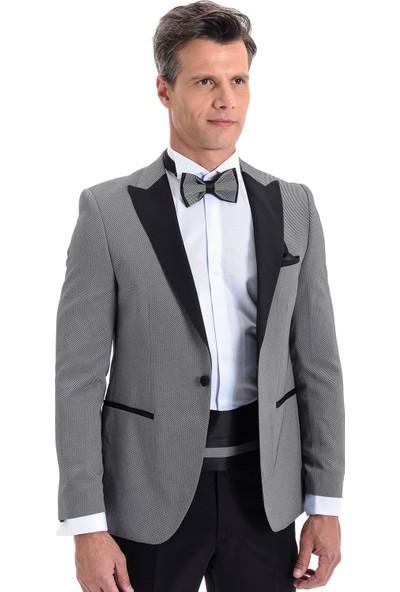 Morven Broadway Slim Fit Yelkli Damatlık Takım Elbise Orta Gri