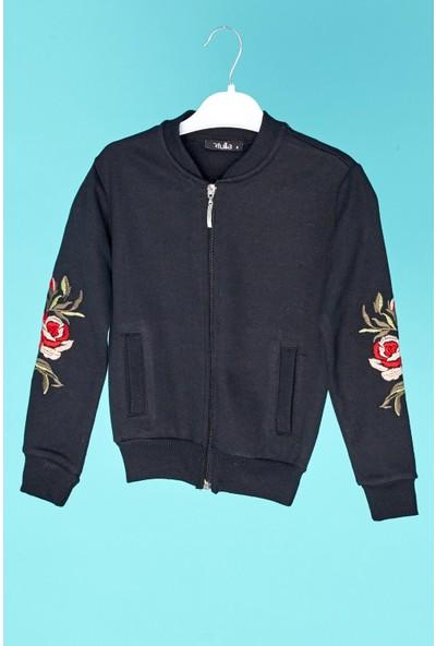 FullaModa Kız Çocuk Kolu Nakışlı Fermuarlı Sweatshirt