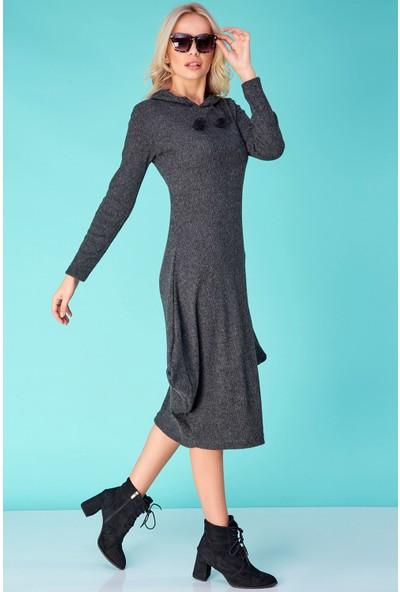 FullaModa Kadın Kapüşonlu Asimetrik Kesim Uzun Elbise