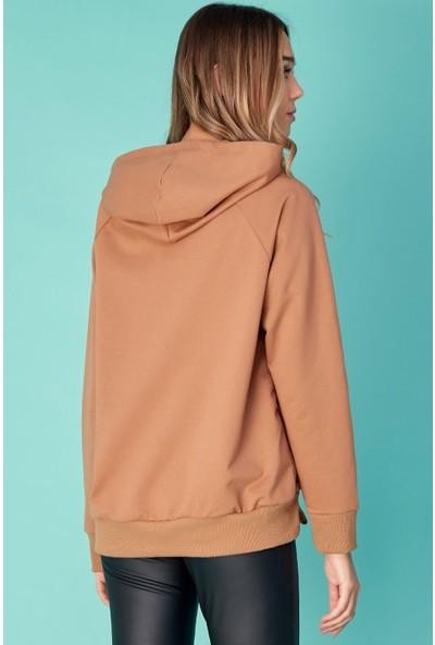 FullaModa Kadın Minimalist Baskılı Kapüşonlu Sweatshirt