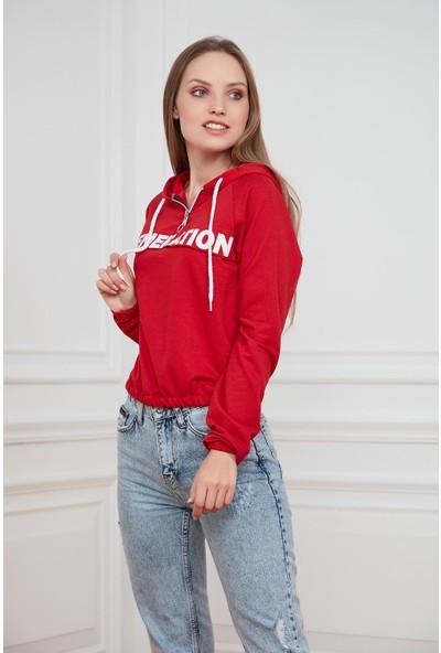 Morpile Yarım Fermuarlı Kapüşonlu Sweatshirt