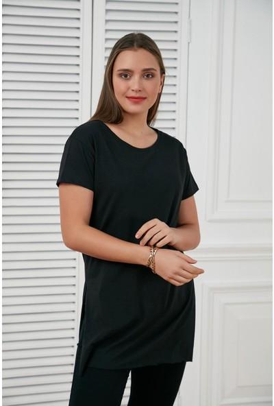 Morpile Yırtmaçlı Basic T-shirt
