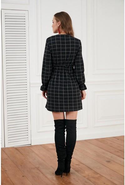 Morpile Ekose Desen Mini Elbise