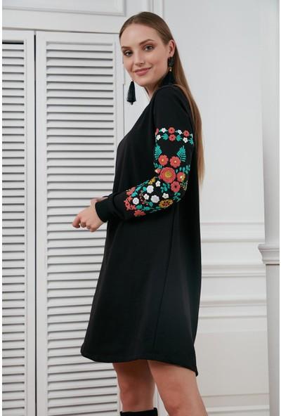 Morpile Kolu Çiçek Deseneli Elbise