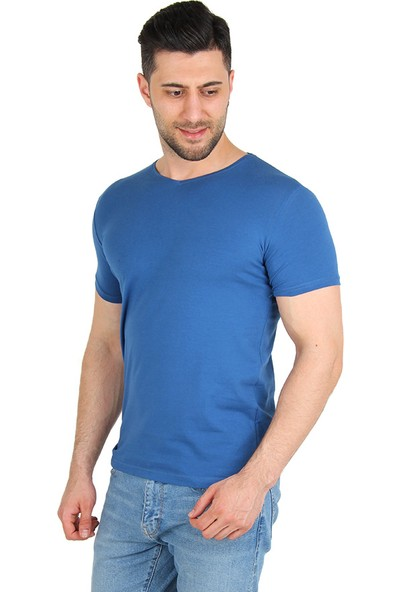 Darking 3005 V Yaka Erkek Kısa Kol T-Shirt Mavi