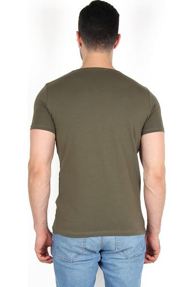 Darking 3007 V Yaka Erkek Kısa Kol T-Shirt Haki