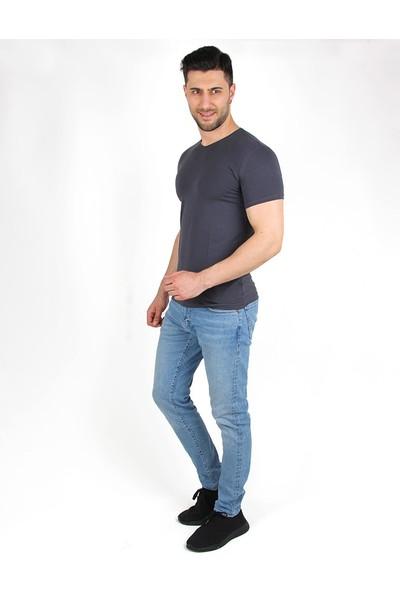 Darking 3008 V Yaka Erkek Kısa Kol T-Shirt Antrasit