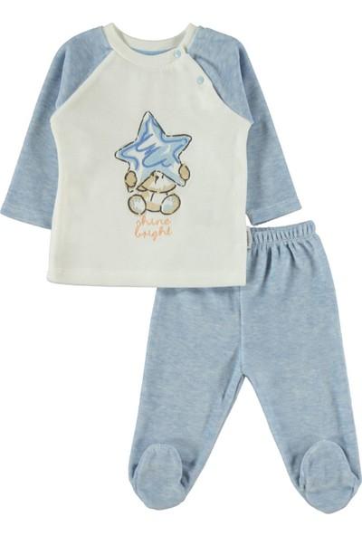 Kujju Kız Bebek Pijama Takımı 3-6 Ay Mavi