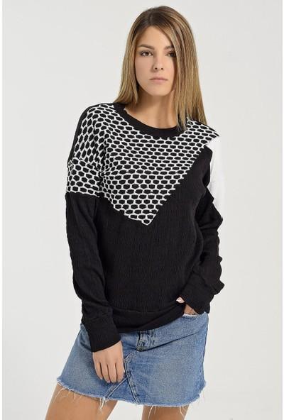 Buklemoda Kadın Siyah Bloklu Sweatshirtshırt