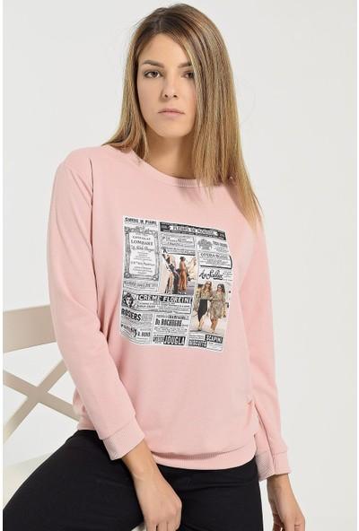 Buklemoda Kadın Baskılı Sweatshirt