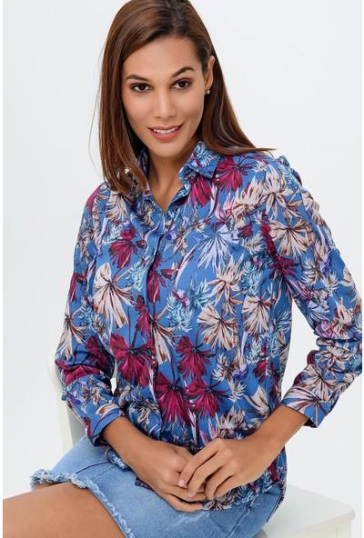 Buklemoda Kadın Desenli Gömlek