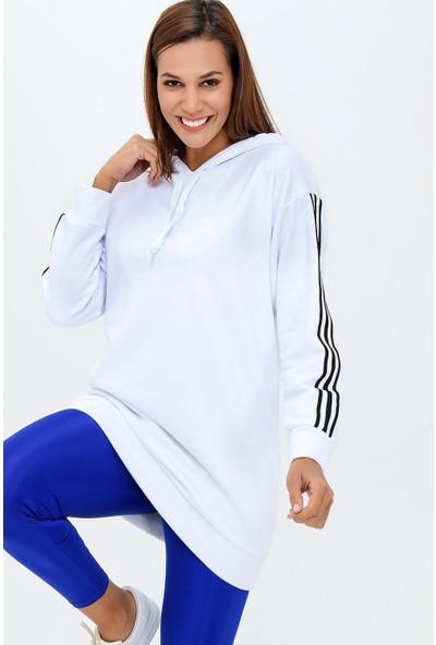 Buklemoda Kadın Yanı Şeritli Kapşonlu Sweatshirt