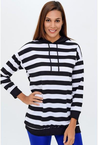 Buklemoda Kadın Çizgili Kapşonlu Sweatshirt