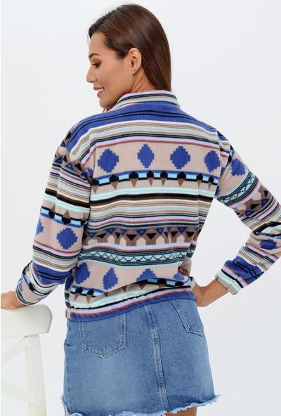 Buklemoda Kadın Etnik Desen Polar Sweatshirt