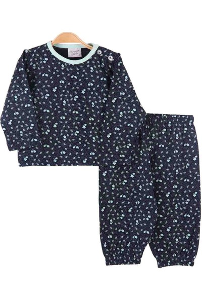 Breeze Kız Çocuk Pijama Takımı Yapraklı Lacivert-Yeşil 1-4 Yaş