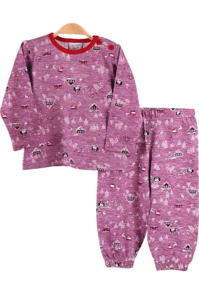 Breeze Kız Çocuk Pijama Takımı Desenli Mor 1-4 Yaş