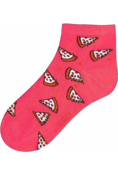 Suwen Pizza Soket Çorap - Fuşya