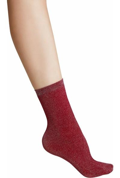 Suwen Shinny Soket Çorap - Bordo